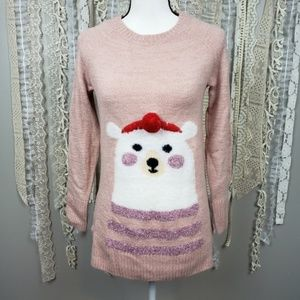LC Lauren Conrad Womens Pink Polar Bear Sweater